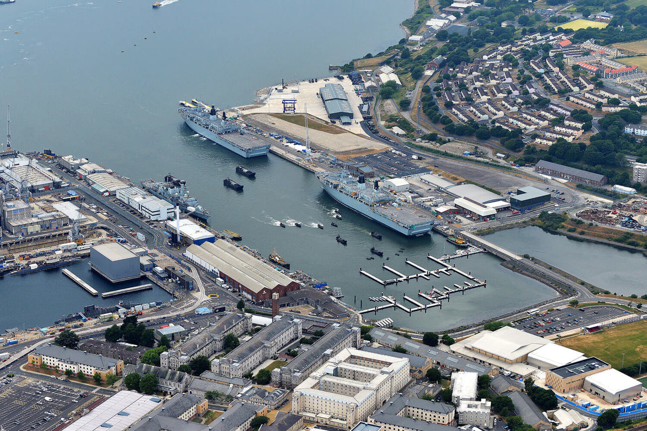 Meet the Queen's Harbour Master: Aerial photograph of Plymouth Dockyard.